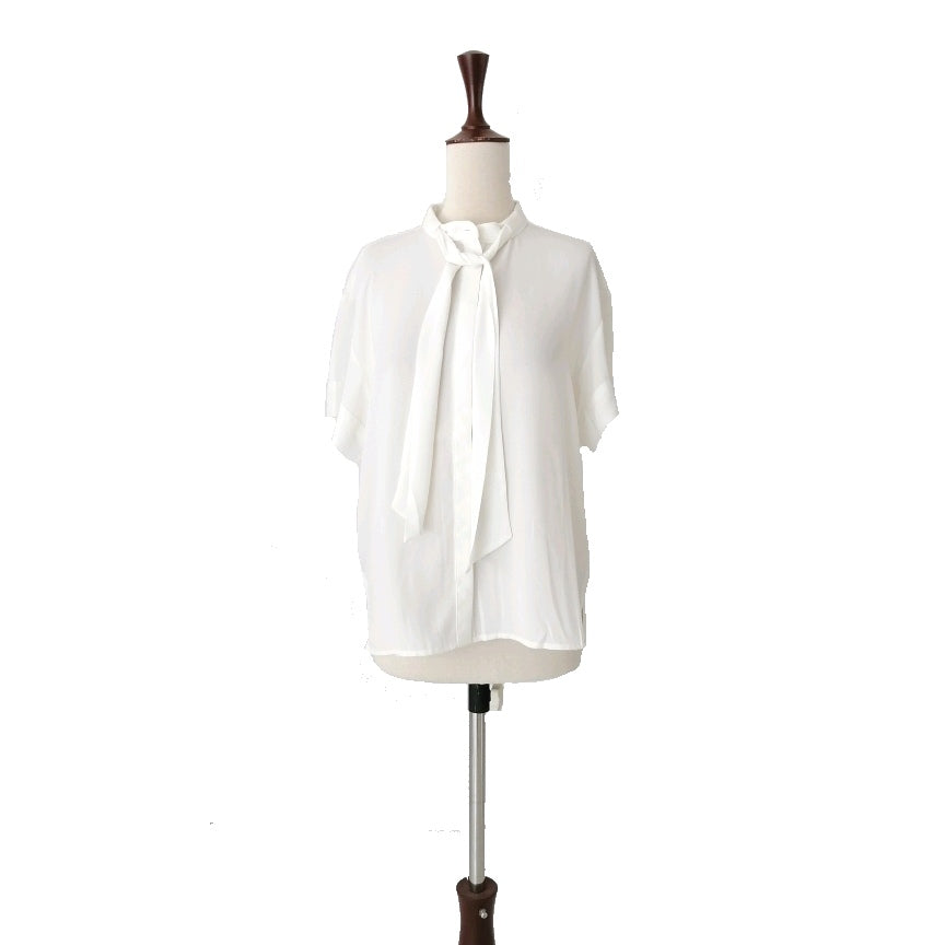 Mango White Short Sleeved Knot Shirt