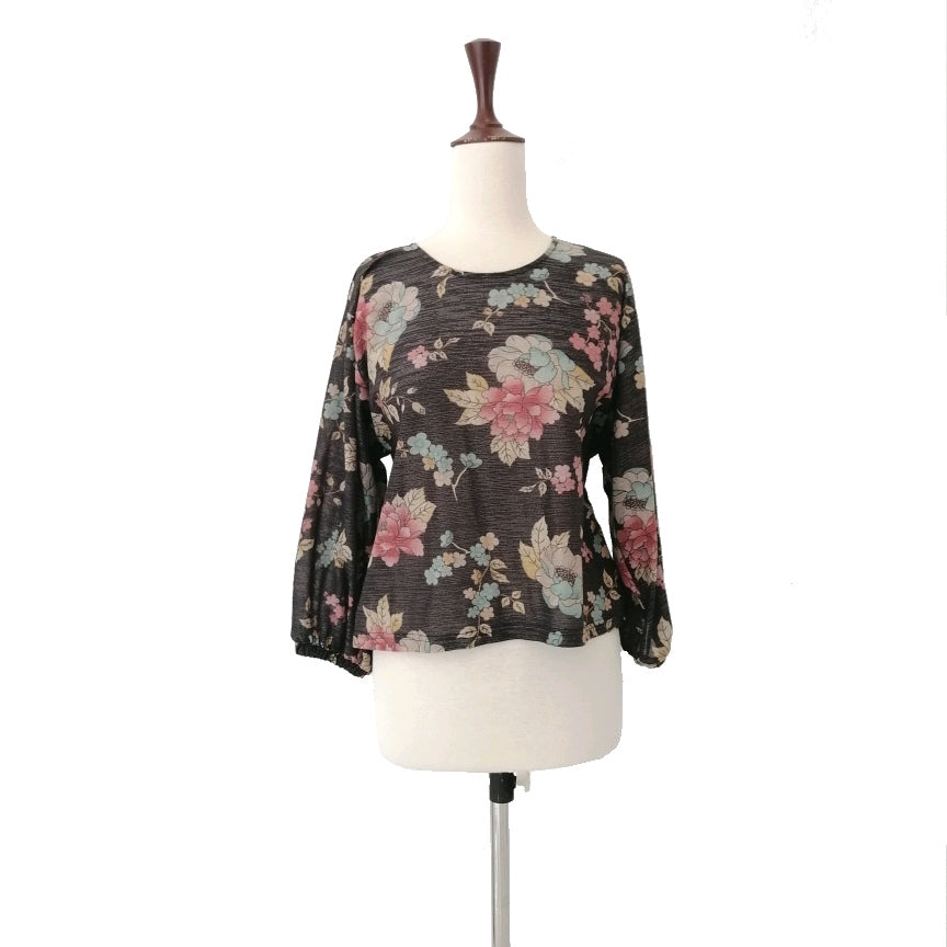Mango Grey Floral Metallic Printed Blouse | Gently Used |