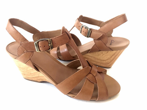 Clark's Tan Leather Wedges | Brand New |