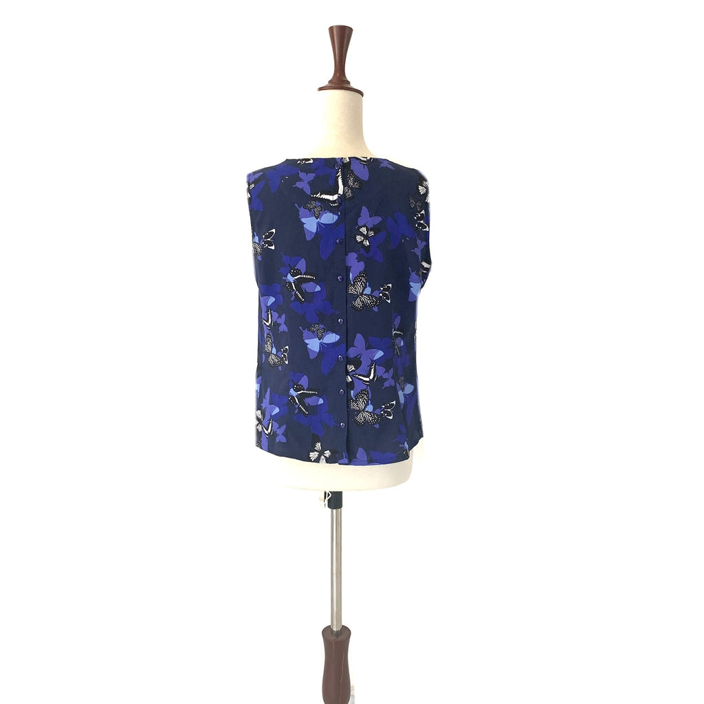 Red Herring Blue Butterfly Sleeveless Printed Top | Pre Loved |