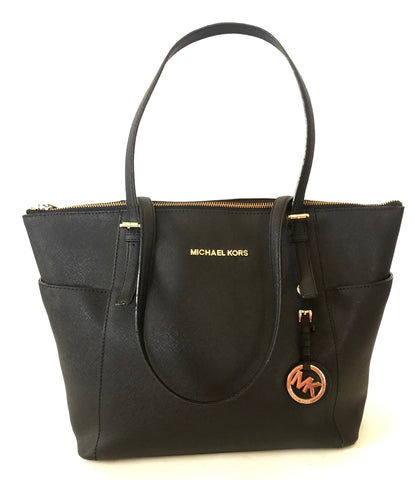 MICHAEL Michael Kors Jet Set Black Leather Tote Bag | Gently Used |