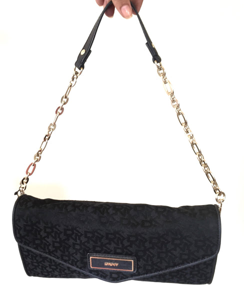 DKNY Black Monogram Canvas Shoulder Bag | Gently Used | - Secret Stash