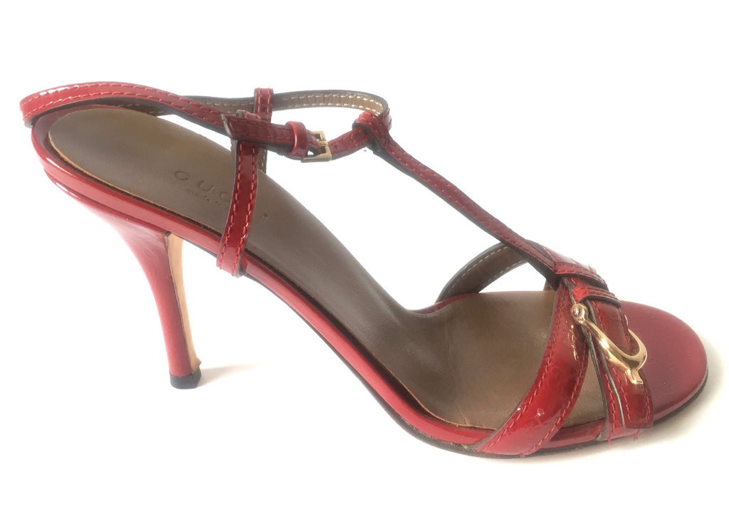 Gucci Red Leather Strappy Heels | Gently Used | - Secret Stash