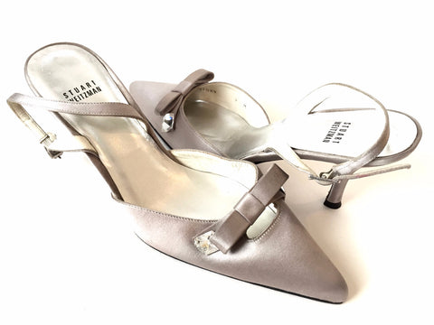 Stuart Weitzman Satin Pointed Sling Back Heels | Gently Used |