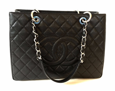 Chanel Black Caviar Leather Grand Shopping Tote Bag | Like New |