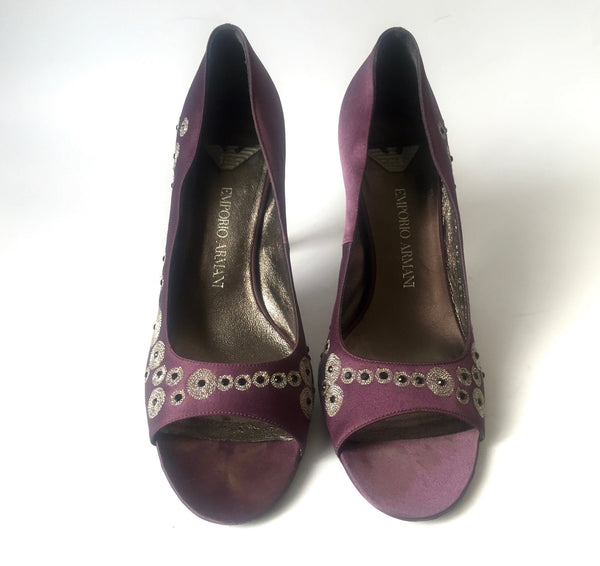 Emporio Armani Satin Peep Toe Heels | Gently Used | - Secret Stash
