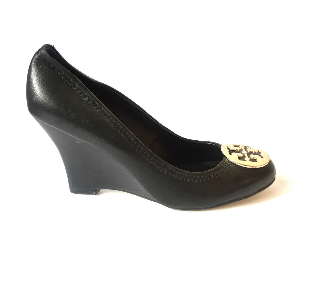 Tory Burch Black Leather Wedges | Pre Loved | - Secret Stash