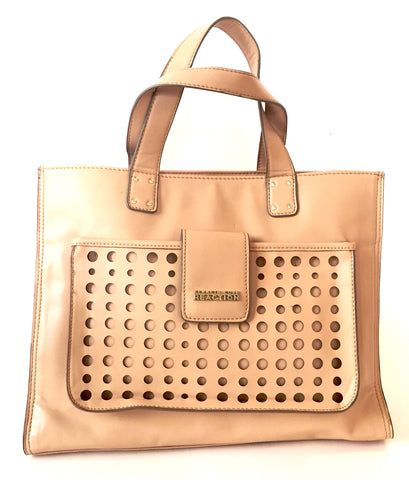 Kenneth Cole Reaction Beige Faux Leather Tote Bag | Gently Used |