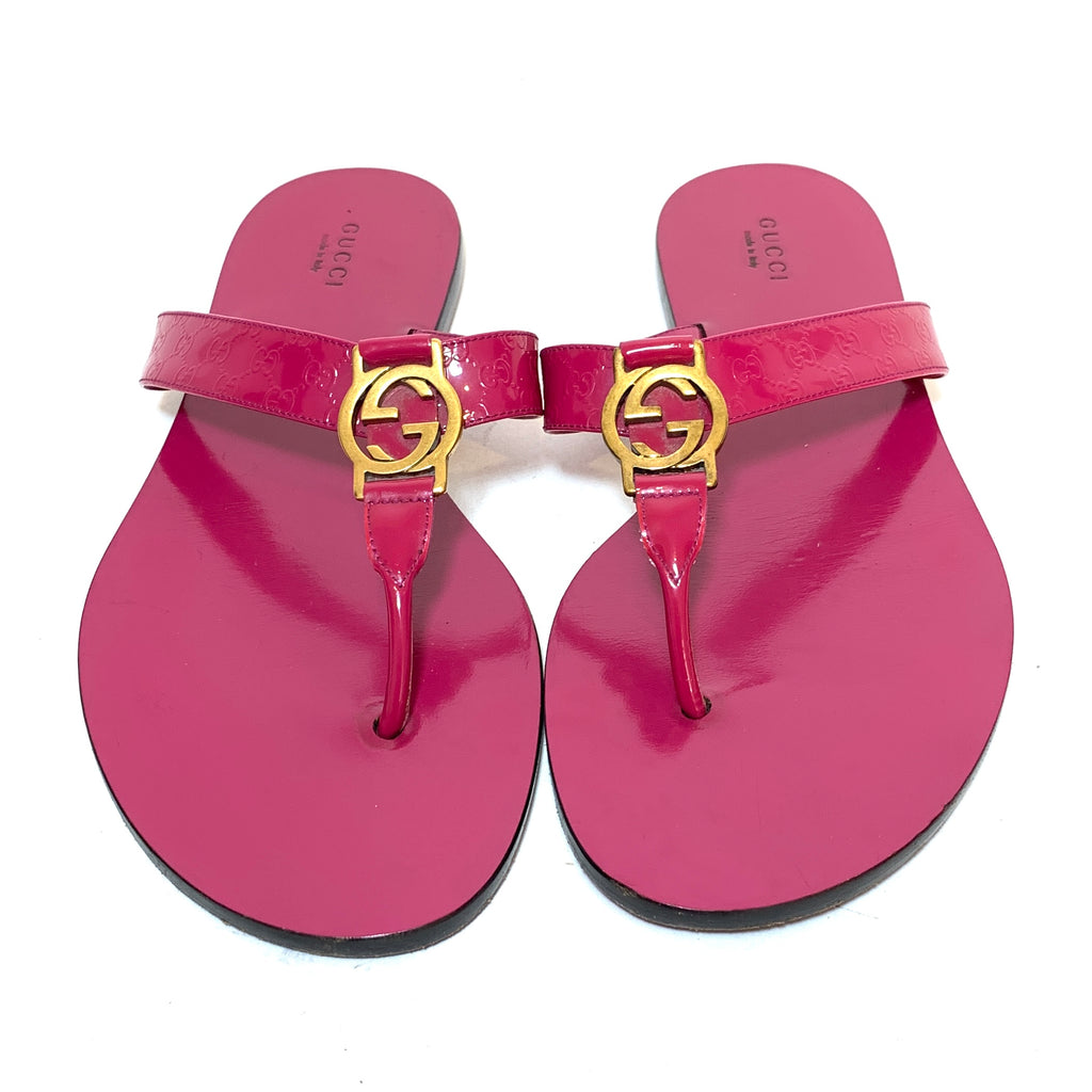 Gucci Pink Guccisma Leather Sandals | Pre Loved |