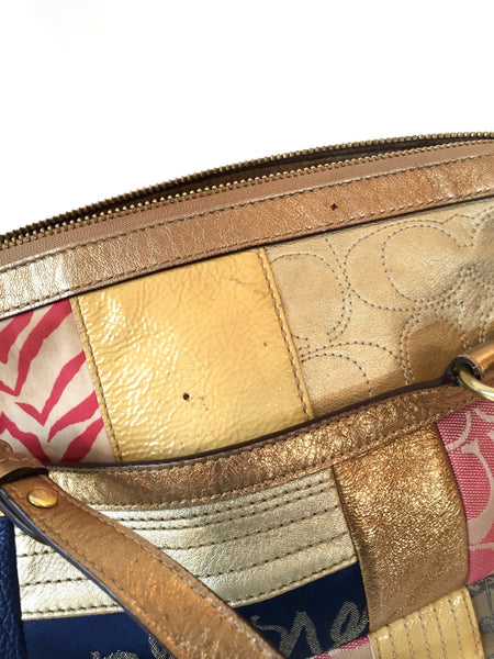 Coach Multi Fabric with Gold Leather Trim bag | Pre Loved | - Secret Stash