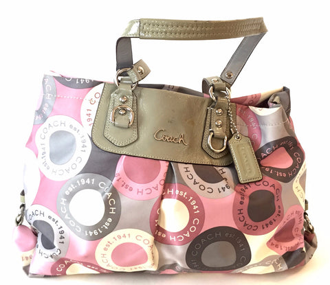 Coach Printed Pink & Grey with Leather Trim Shoulder Bag | Pre Loved |