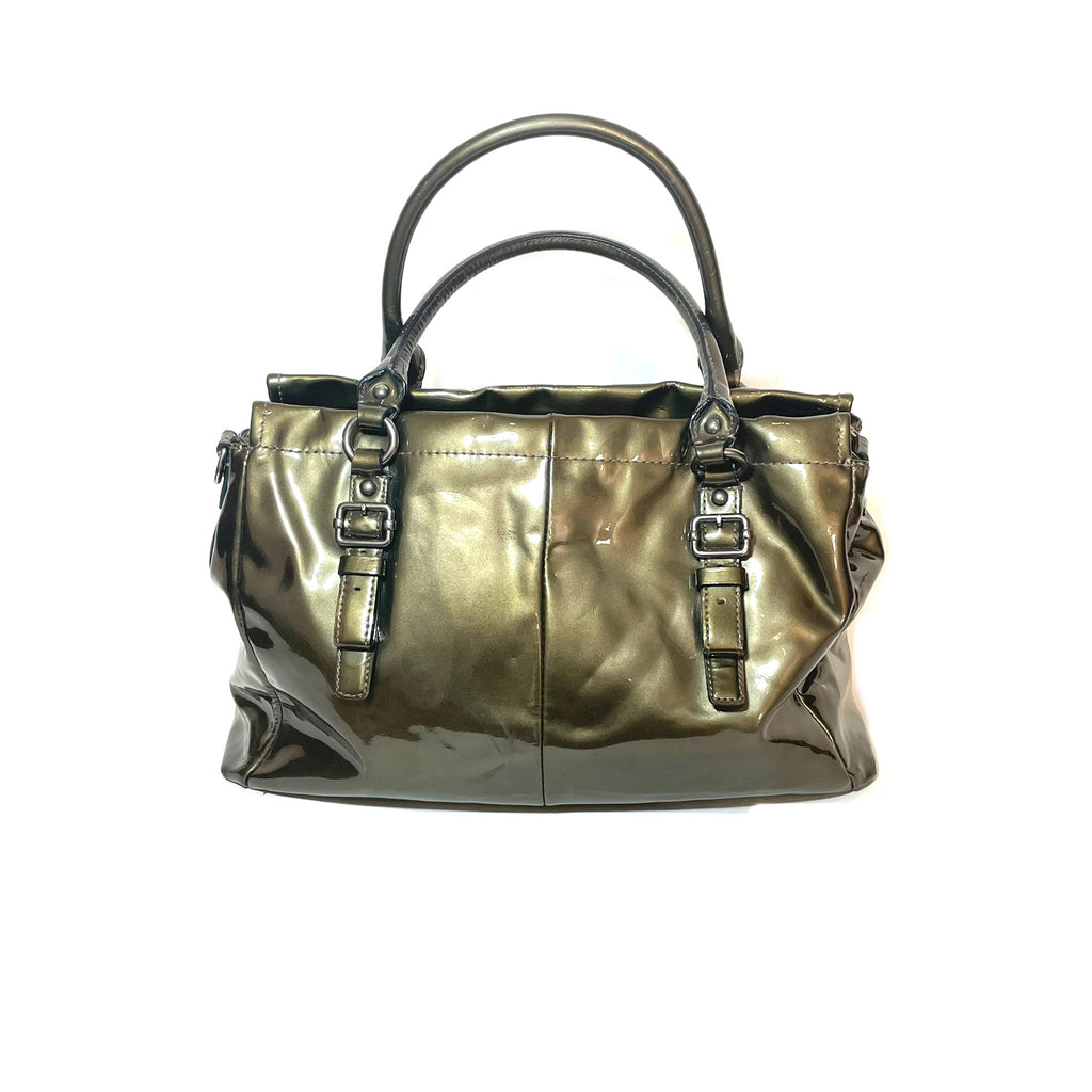 Coach Patent Leather Moss Green Tote Satchel | Pre Loved |