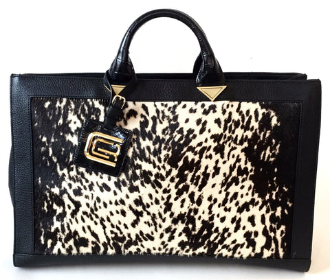 CLASS Roberto Cavalli 'Anja' Calf Hair & Leather Bag | Brand New |