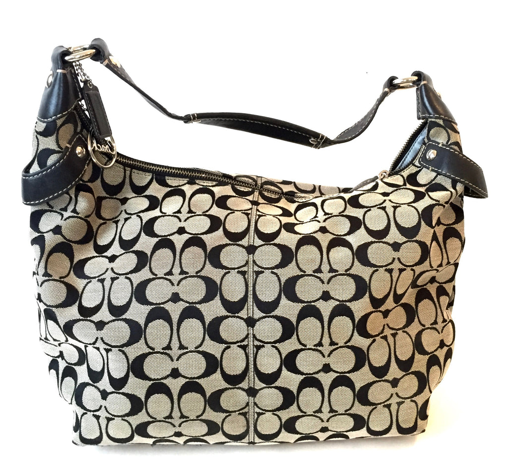 Coach Black & Grey Signature Collection Large Shoulder Bag | Gently Used | - Secret Stash