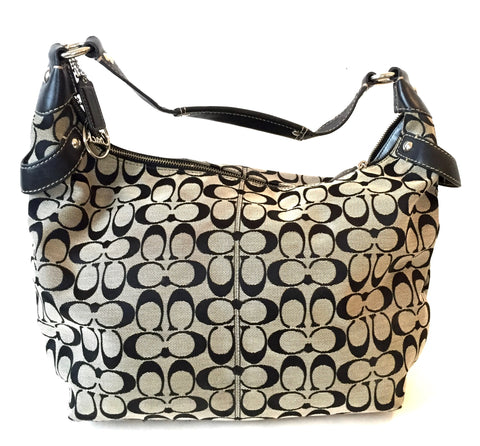 Coach Black & Grey Signature Collection Large Shoulder Bag | Gently Used |