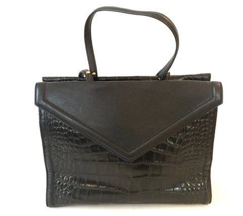 Isaac Mizrahi Black Pebbled Leather Large Tote Bag | Gently Used |