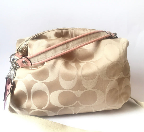 Coach Signature Collection Beige & Pink Hobo Bag | Gently Used | - Secret Stash