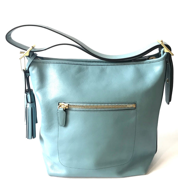 Coach Light Blue Leather Hobo Shoulder Bag | Pre Loved |