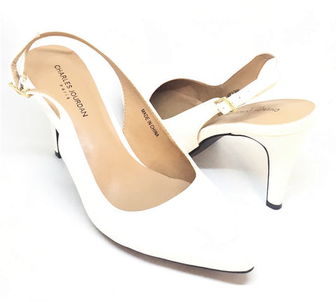 Charles Jourdan White Leather Pointed Sling Back Pointed Pumps | Brand New |