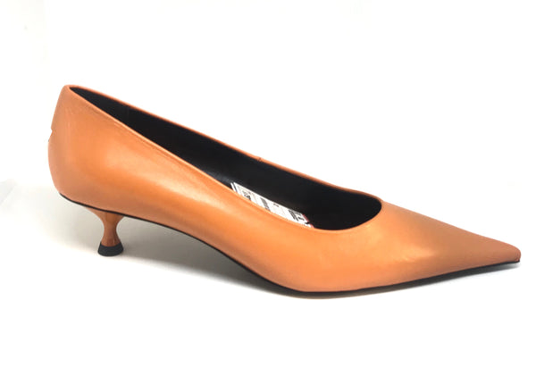 ZARA Orange Leather Pointed Pumps | Brand New |