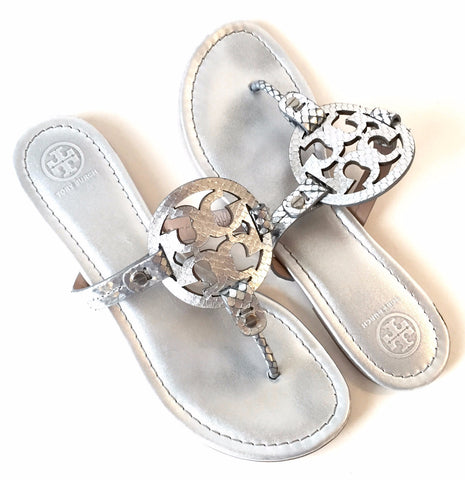 Tory Burch Silver Leather 'Miller' Sandals | Gently Used | - Secret Stash