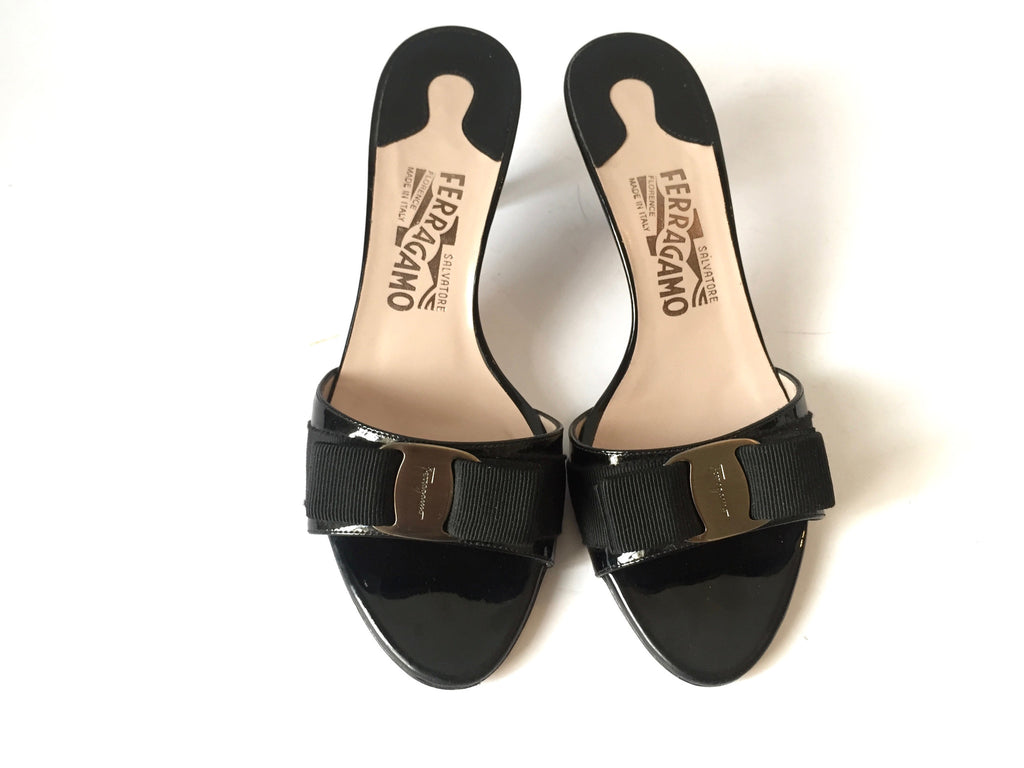Salvatore Ferragamo 'Glory' Bow Patent Leather Kitten Heels | Gently Used | - Secret Stash