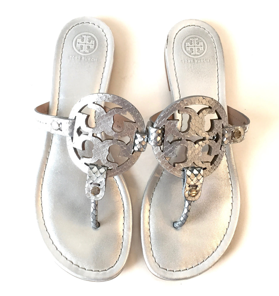 1c947a42721396 Tory Burch Silver Leather  Miller  Sandals