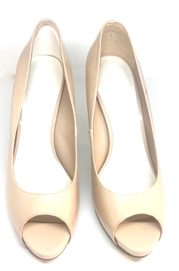Charles & Keith Nude Patent Peep Toe Heels | Brand New | - Secret Stash