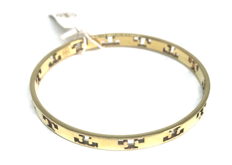 Tory Burch Pierced T Thin Gold Bangle | Gently Used |