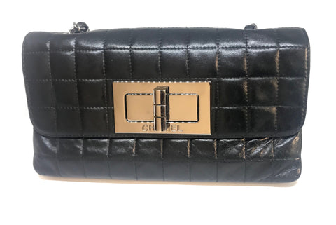 Chanel Vintage Black Leather Square Quilted Flap Bag | Gently Used |