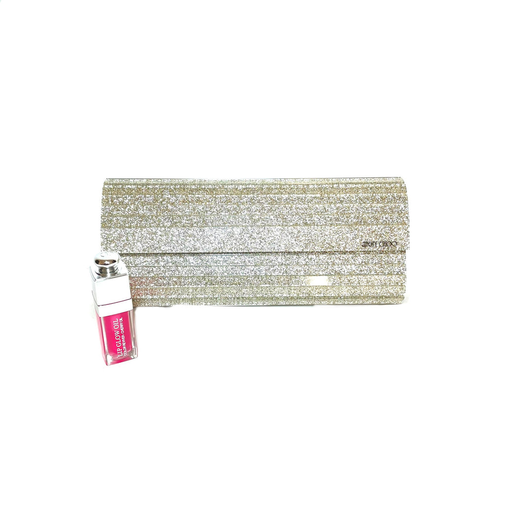 Jimmy Choo 'Sweetie' Silver Glitter Acrylic Clutch Bag | Gently Used |