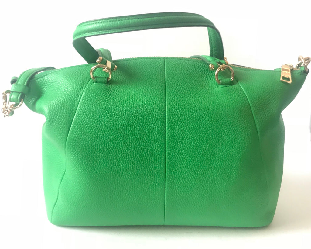 Coach Pebbled Leather Green Tote Bag | Like New | - Secret Stash