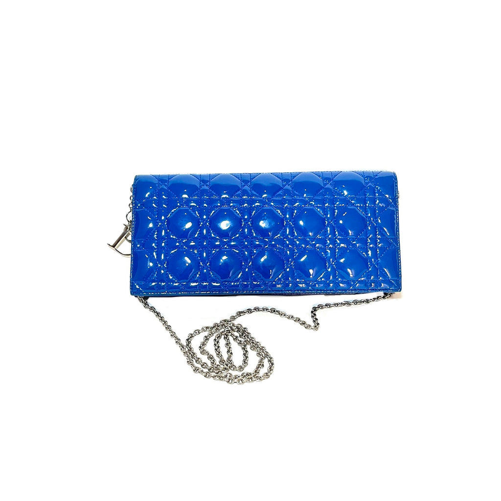 DIOR 'Lady Dior' Blue Cannage Quilted Patent Leather Clutch Bag | Gently Used |