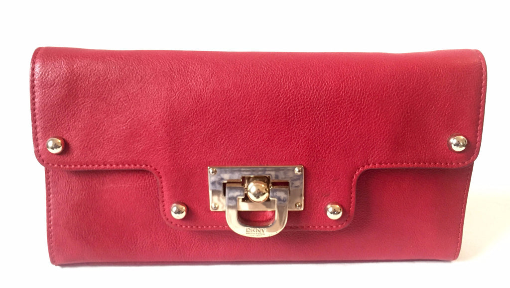 DKNY Red Leather Clutch Purse | Gently Used | - Secret Stash