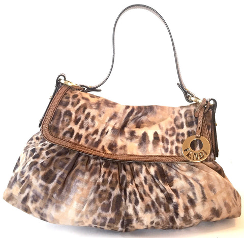 Fendi Tobacco Zucca Animal Print Medium Shoulder Bag | Gently Used |