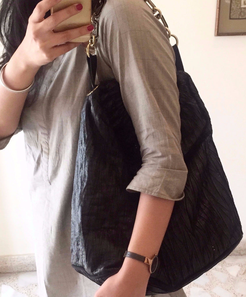 Stella McCartney Black Slouchy Faux Leather Hobo Bag | Gently Used | - Secret Stash