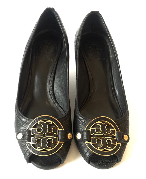 Tory Burch Black 'Lowell' Leather Peep-toe Wedges | Pre Loved |