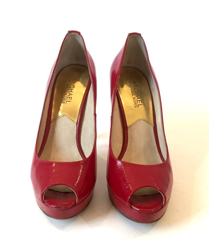 Michael Kors Red Patent Leather Peep Toe Heels | Gently Used |