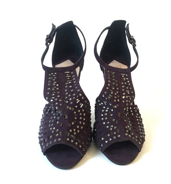 Faith by Debenhams Purple Sequined Peep-toe Heels | Brand New |