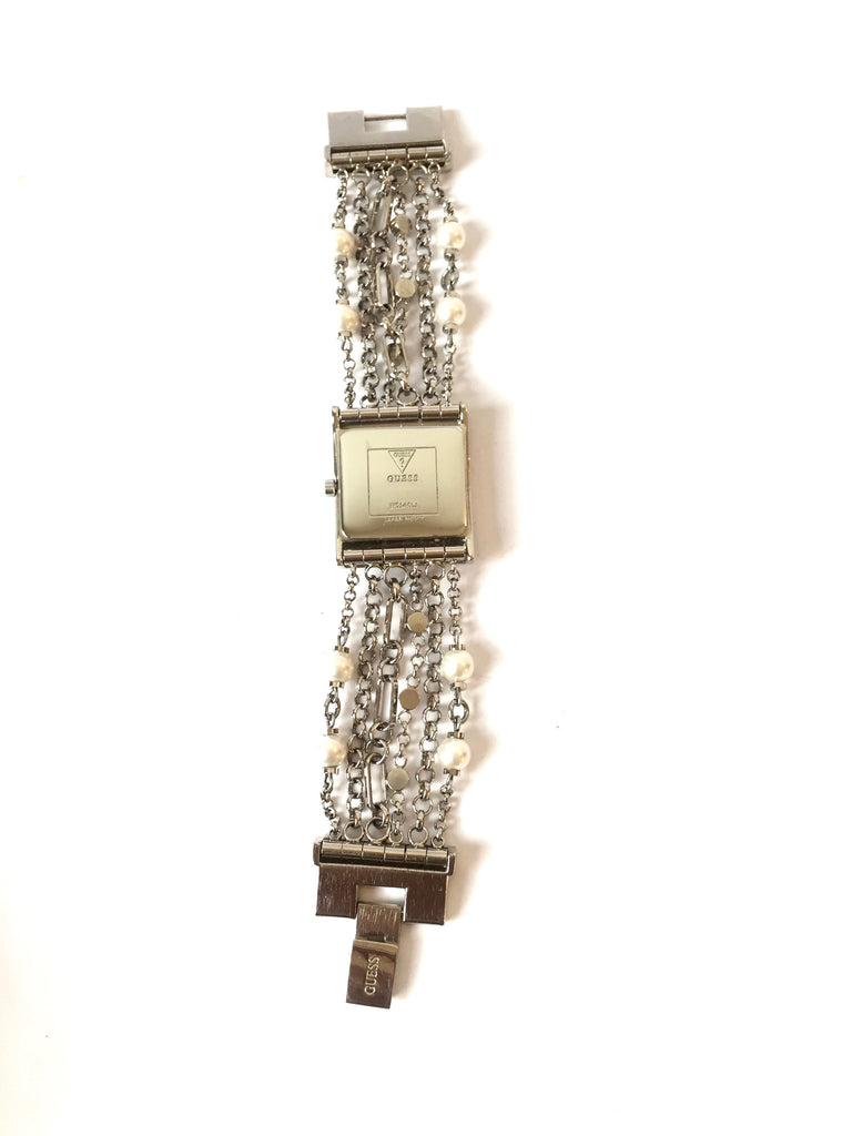 Guess Diamante & Pearl Silver Strings Watch | Gently Used | - Secret Stash