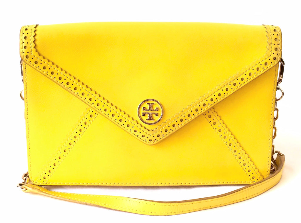Tory Burch Yellow 'Robinson Spectator' Envelope Clutch | Pre Loved | - Secret Stash