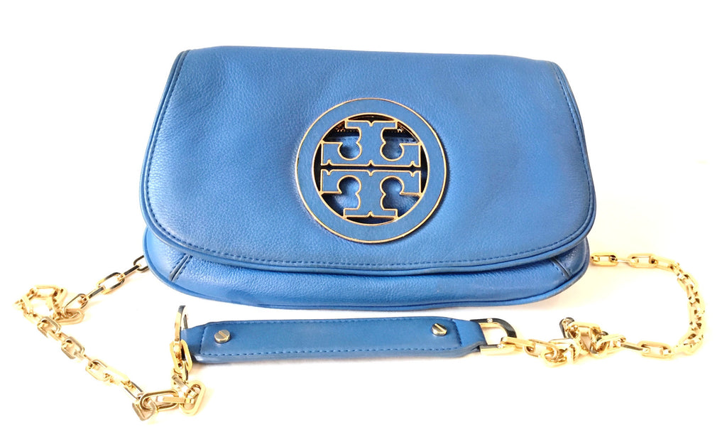 Tory Burch 'REVA' Blue Leather Cross Body Bag | Gently Used | - Secret Stash