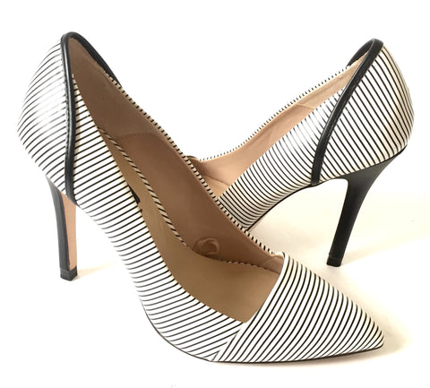 ZARA Black & White Striped Leather Pumps | Like New |