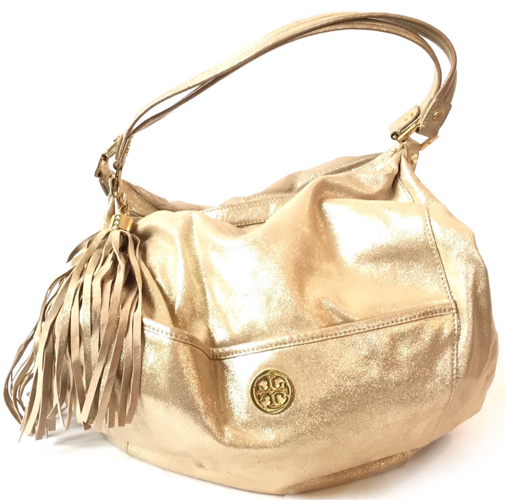Tory Burch Gold Glitter Hobo Bag | Pre Loved |