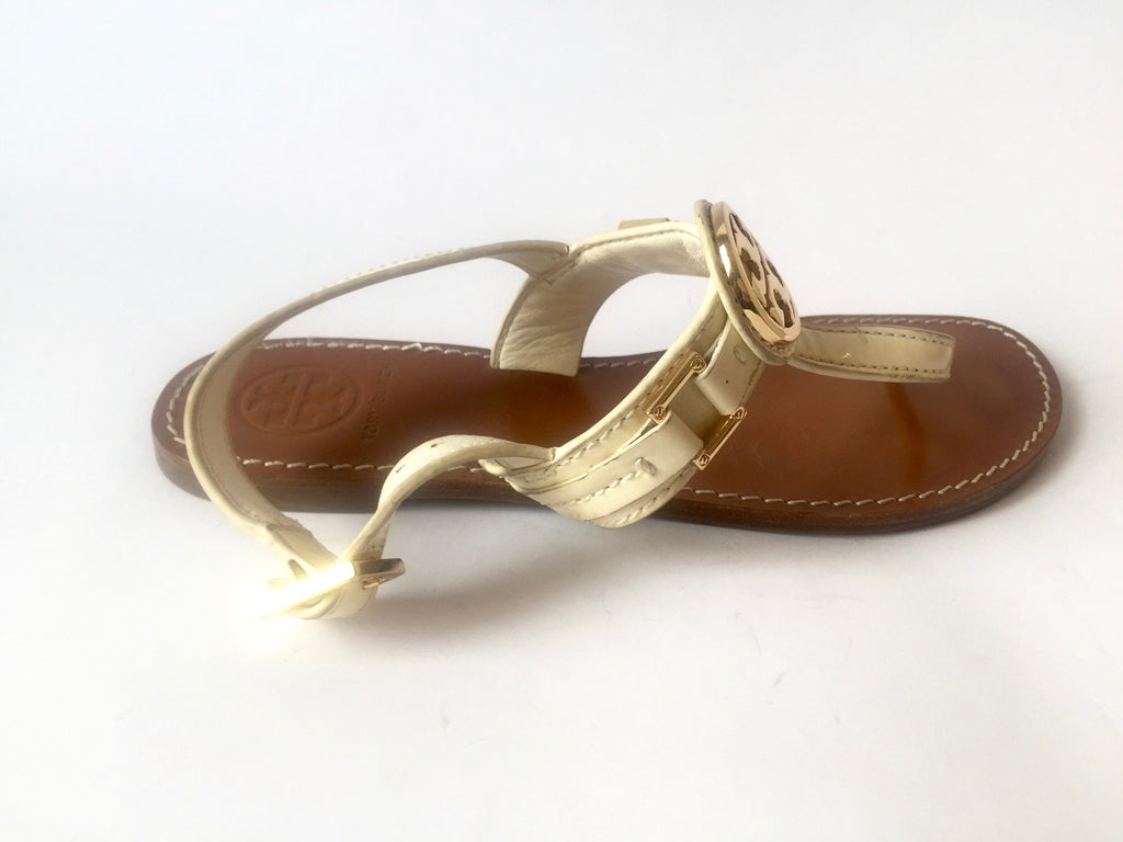 Tory Burch Cream T Strap Leather Sandals | Gently Used | - Secret Stash
