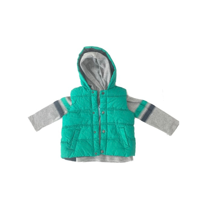Marks & Spencer Grey Shirt & Green Puffy Jacket | Brand New |