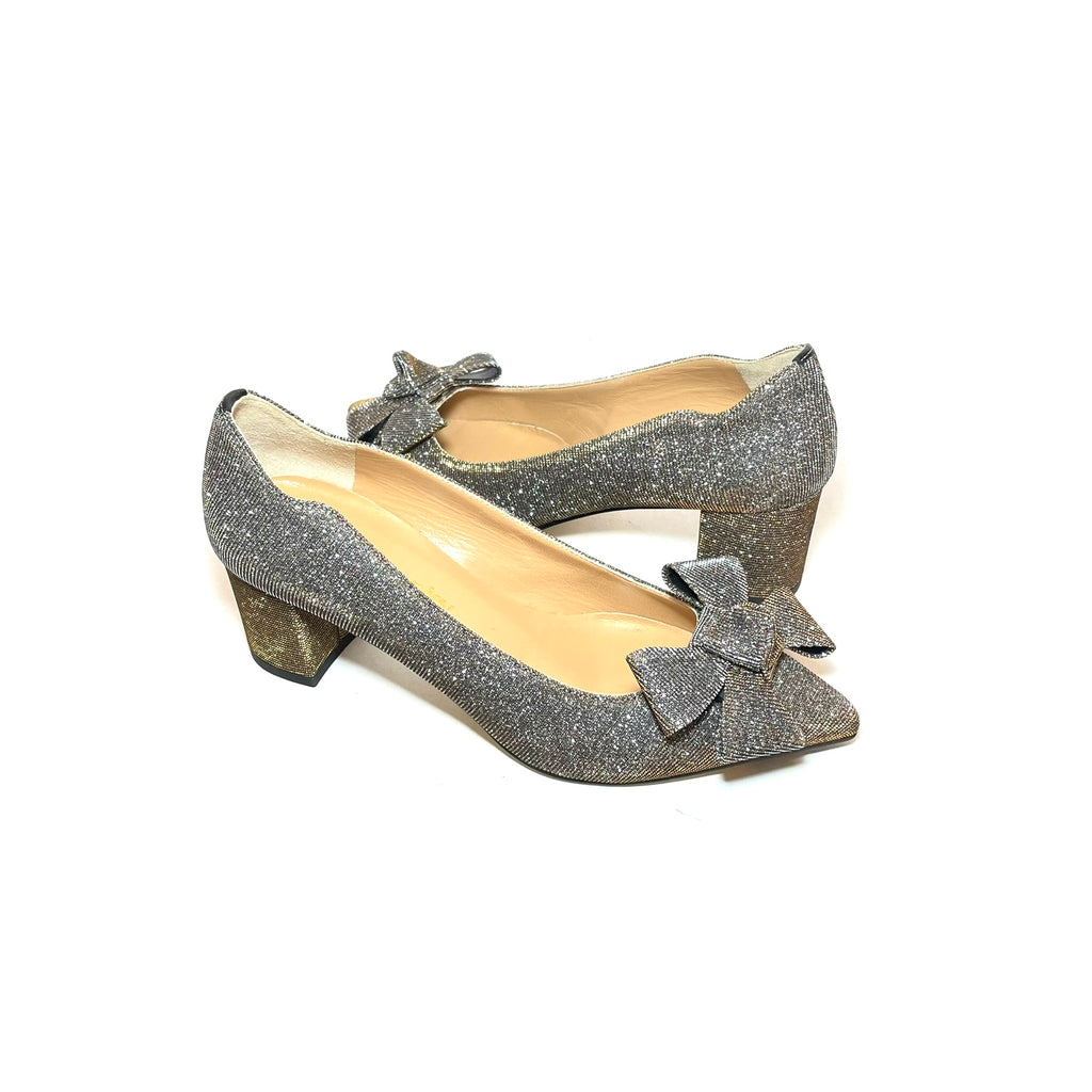Russell & Bromley Metallic Glitter Bow Pointed Pumps | Like New |