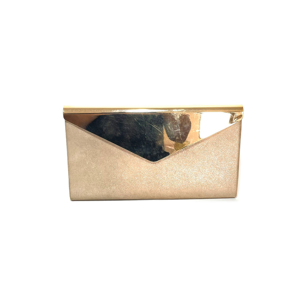 Jimmy Choo Gold Shimmering Leather and Metal Charlize Envelope Clutch | Gently Used |