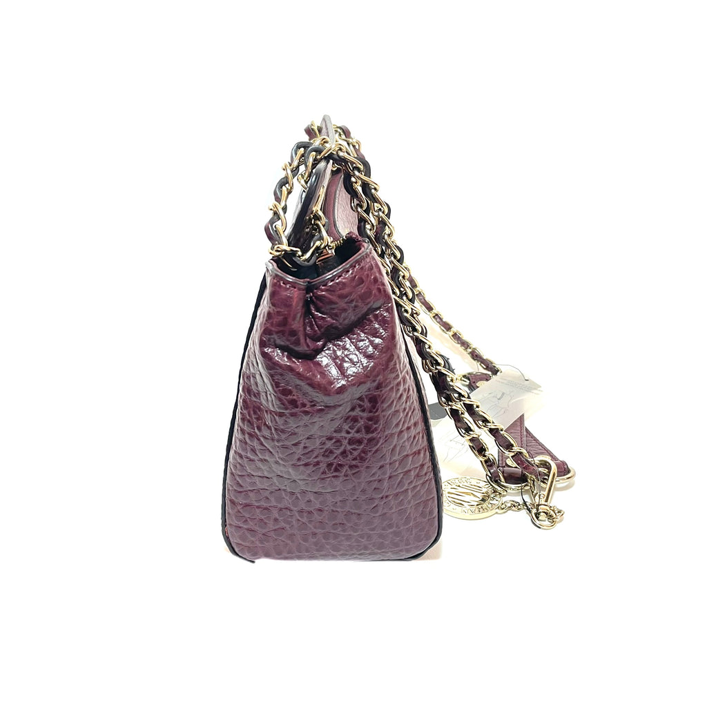 DKNY Oxblood Pebbled Leather Shoulder Bag | Brand New |