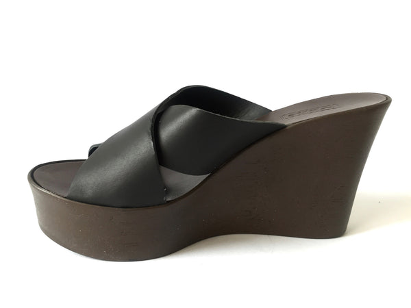 DUNE Black Leather Criss Cross Strap Wedges | Brand New | - Secret Stash